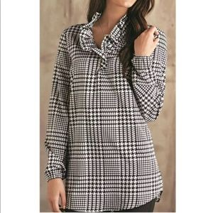 Mud Pie Houndstooth RuffleCollar Blouse